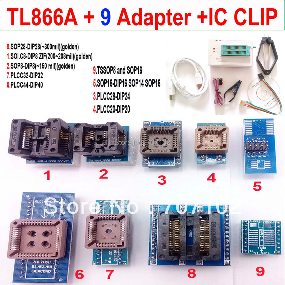 TL866A programmer 9 adapters font b IC b font CLIP High speed TL866 AVR PIC Bios