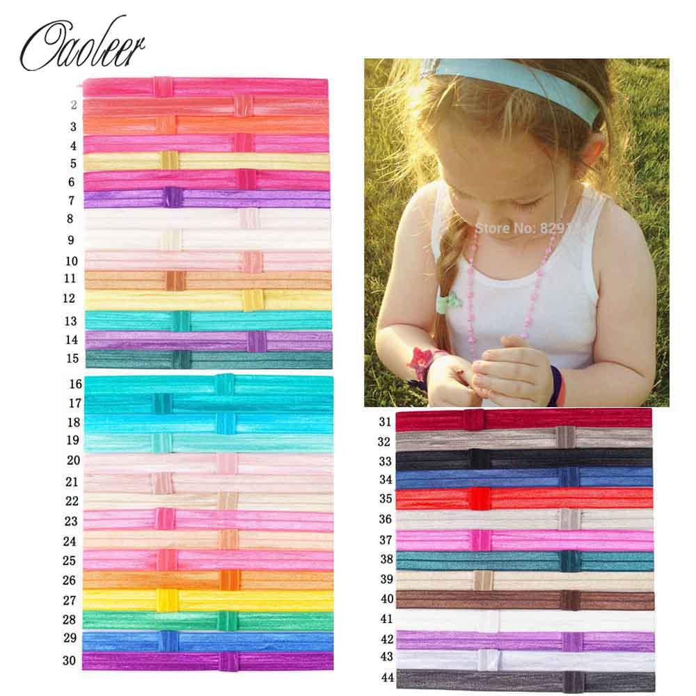44pcs/lot Hot Sale Shiny Thin Elastic Hair Bands Satin Ribbon Headband Kids Hair Accessories Girls Headwear hot sale hair accessories headband styling tools acessorios hair band hair ring wholesale hair rope