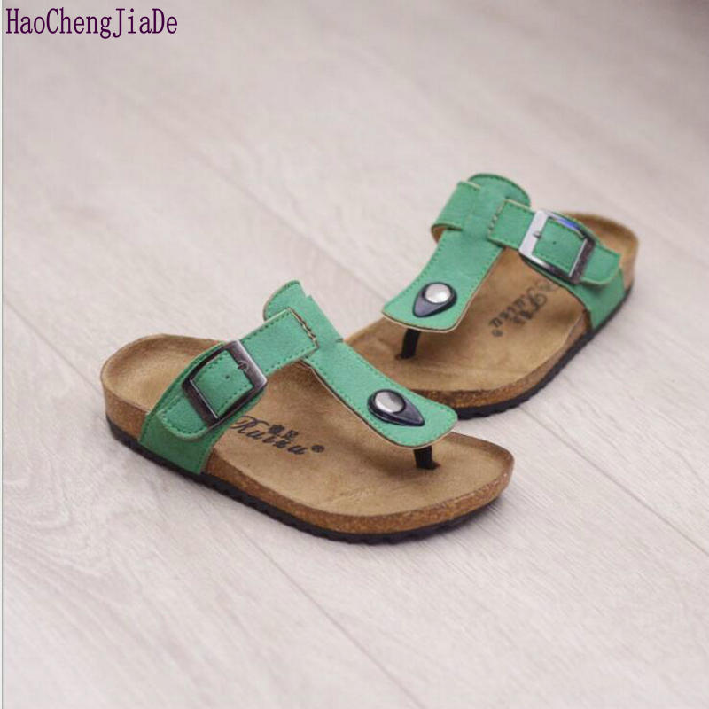 2018 spring and summer children Sandals boys and girls cork shoes Kids comfortable flip-flops tide beach Colors Flat shoes