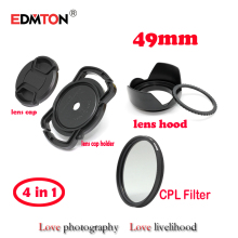 49mm Circular Polarizer Polarizing CPL Filter + lens cap + lens hood + lens cap holder for EF 50mm f/1.8 STM 50 1.8 dslr lens