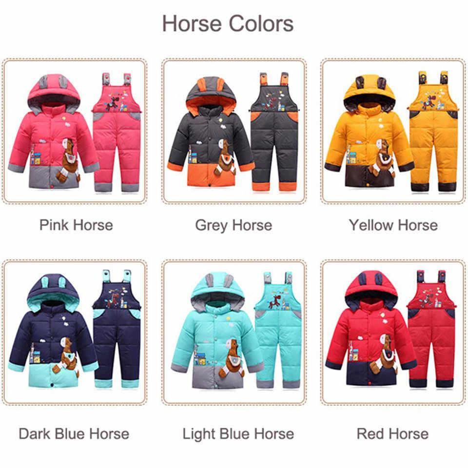 Зимний детский зимний костюм для мальчика, комплект одежды, Детский пуховик, комбинезон для девочки, теплый парка, пальто с капюшоном + штаны, пальто для младенцев