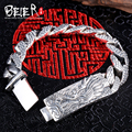 Beier new store100% 925 silver sterling dragon bracelets bangles for men high polish hand chain fine jewelry SCTYSL0198