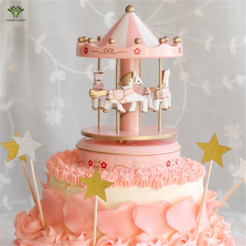 1PCS Carousel Cake Topper Wooden Carousel Music Box Birthday Cake