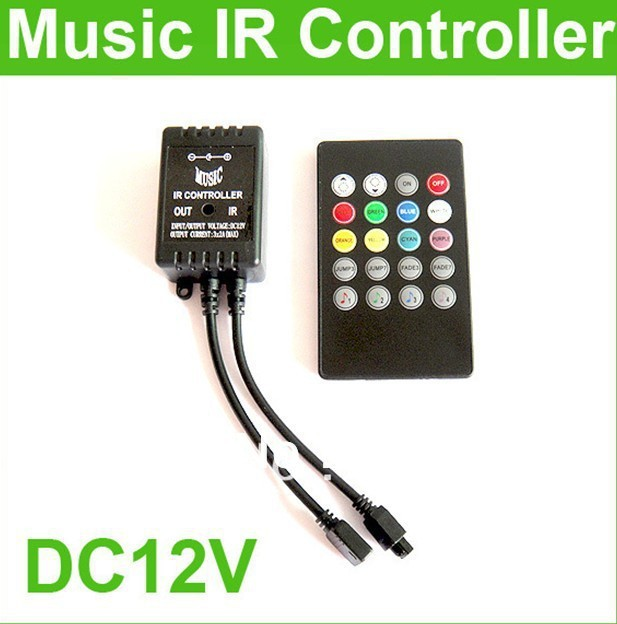 Music IR 20key Remote Sound Sensor mini Controller For 3528 5050 RGB LED Strip ,DC12V-24V,3 channels,<72W CE ROHS