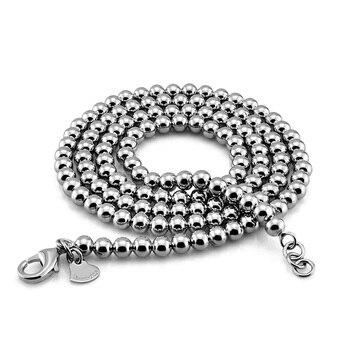 De Hombre de moda esterlina colgante de bolas de plata collar de plata maciza 925 6 mm 66cm Cadena de hombre real de plata collar de plata joyería