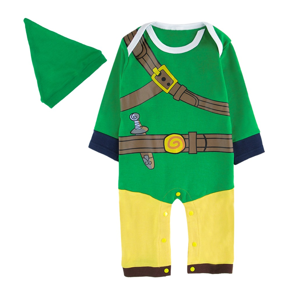 купить Baby Boys Zelda Link Costume Romper Infant Cosplay Playsuits Jumpsuit Newborn Helloween Costume For Boy Summer Winter Clothes по цене 807.81 рублей