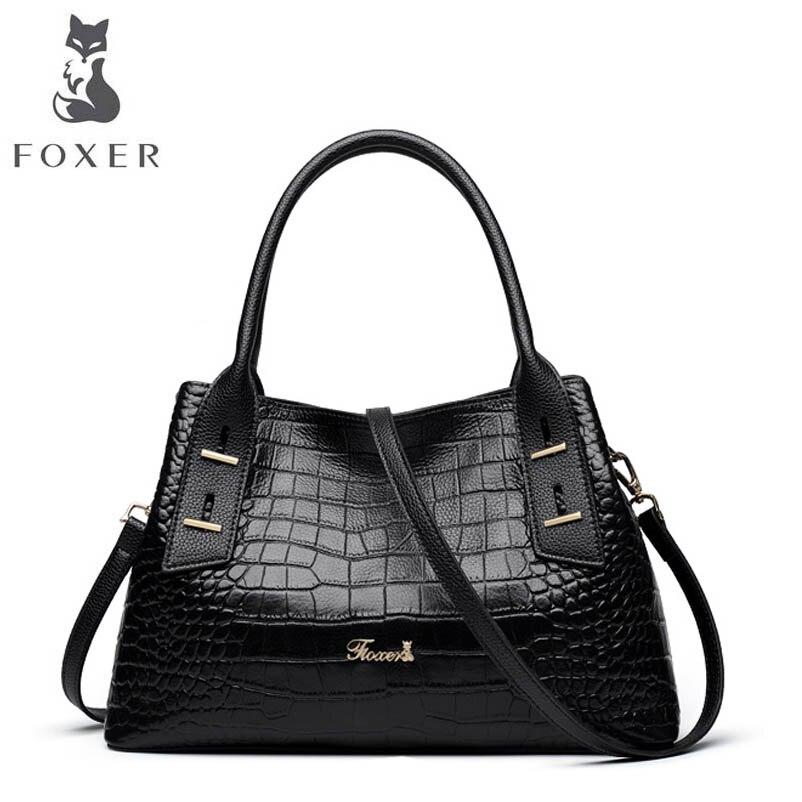 FOXER brand leather handbags Luxury crocodile pattern handbag 2018 New Shoulder Messenger Bag Tote yuanyu 2018 new crocodile handbag leather women handbags single shoulder bag