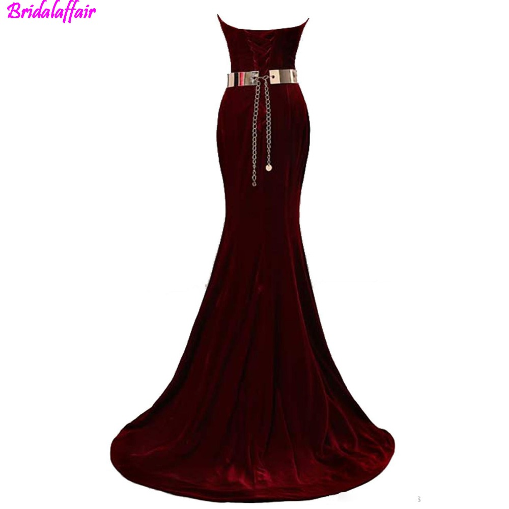 2019 Glamorous Fashion Formal Evening Gowns Beaded Sweetheart Neck Mermaid Evening Dresses Velvet Burgundy Metal Belt Prom Dress in Prom Dresses from Weddings Events