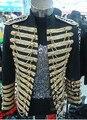 Hombres gran ventaja chaqueta tamaño chaqueta rendimiento negros rojos para hombre DS varón vestido estrella etapa cantante de club nocturno DS traje traje