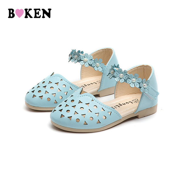 BOKEN Girls Wedding Shoes Kids Princess Shoes For Toddler Girl Children Pu  Leather Bow Sandals