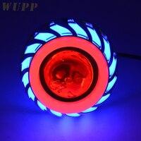 Wupp 12 В мотоцикл фары свет объектив проектора со светодиодной Ангел Дьявол Для глаз фар 30 Вт 1200Lm 200000 H двойной Диафрагма свет