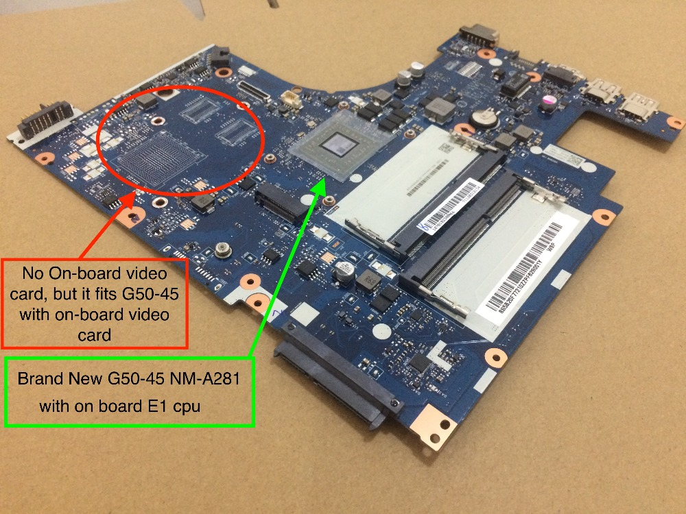 Original New G50 45 motherboard For Lenovo G50 45 Laptop pc NM A281 with AMD E1 on board cpu ( it fit A8 A6 motherboard)
