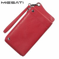 MIESATI Women Wallet New Fashion Wallet Genuine Leather Wallet Brand Women Purse Long Purse Coin Purse Money Bag For iPhone7S