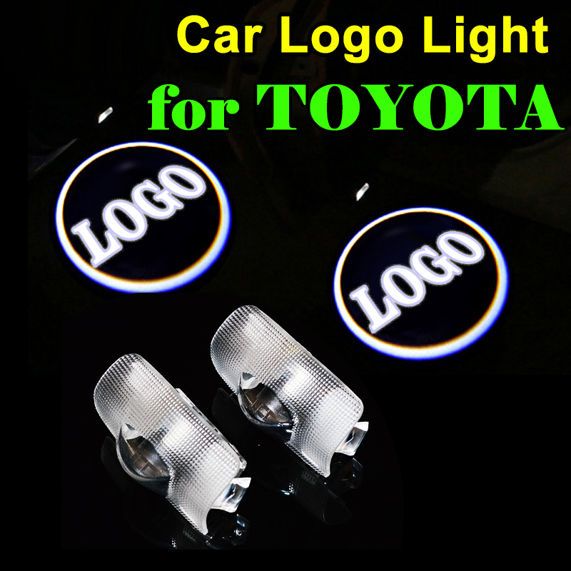2 PCS LED Car Door Lights Laser LOGO Lamp Auto Welcome Light for Toyota Highlander Camry Corolla Reiz Crown Prado 2x led car door welcome light for toyota corolla emblem logo projector lamp for toyota corolla spoiler estate levin coupe saloon