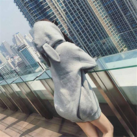 Rocksir Kawaii Rabbit Ears Women Long Hoodies Kawaii Sollid Cute Hooded Sweatshirt Casual Loose Long Sleeve