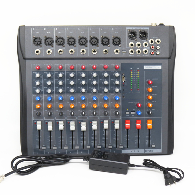 Prix pour CT-80S/USB di mélangeur professionnel amplificateur mélangeur 8 canaux stade audio karaoke mélangeur console de mixage mesa dj Préamplificateur
