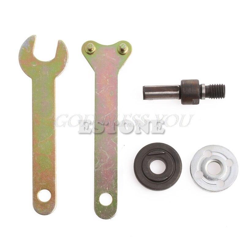 M10/16mm Hole Drill Angle Grinder Mandrel Adapter Disc Holder Kit Spanner Kit