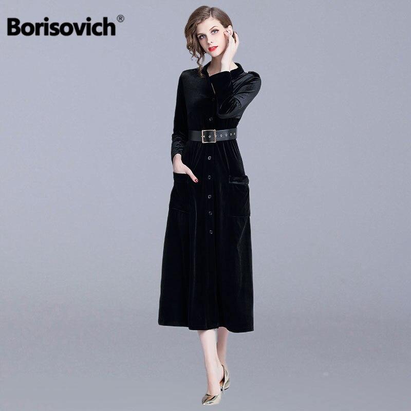 Borisovich 여성 우아한 긴 드레스 새로운 브랜드 2019 봄 패션 영국 스타일 v 목 벨벳 여성 라인 캐주얼 드레스 n468-에서드레스부터 여성 의류 의  그룹 1