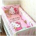 Promoción! 6 unids Hello Kitty cuna de bebé juego de cama cuna 100% de cama de algodón de lino, incluye :( bumper + hoja + almohada cubre )