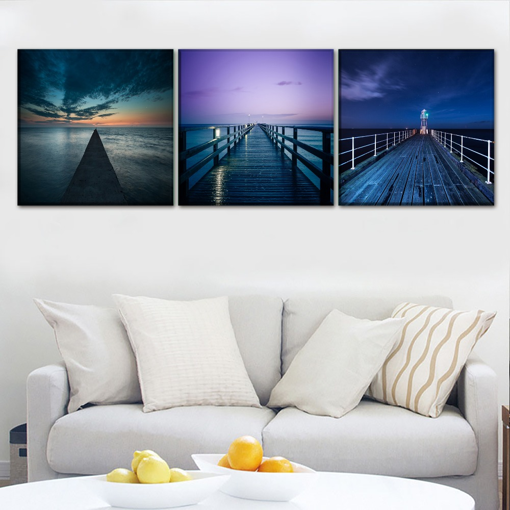 Modern Canvas Printing Type Poster 1Pcs/3Pcs Landscape Sky Pier And Lighthouse Picture Home Decor Wall Art Painting Framework