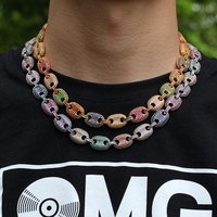 D&Z Fashion Coffee Beans Chain Iced Out Bling Colorful CZ Hollow Cuban Link Chain Necklace For Male Hip Hop Jewelry