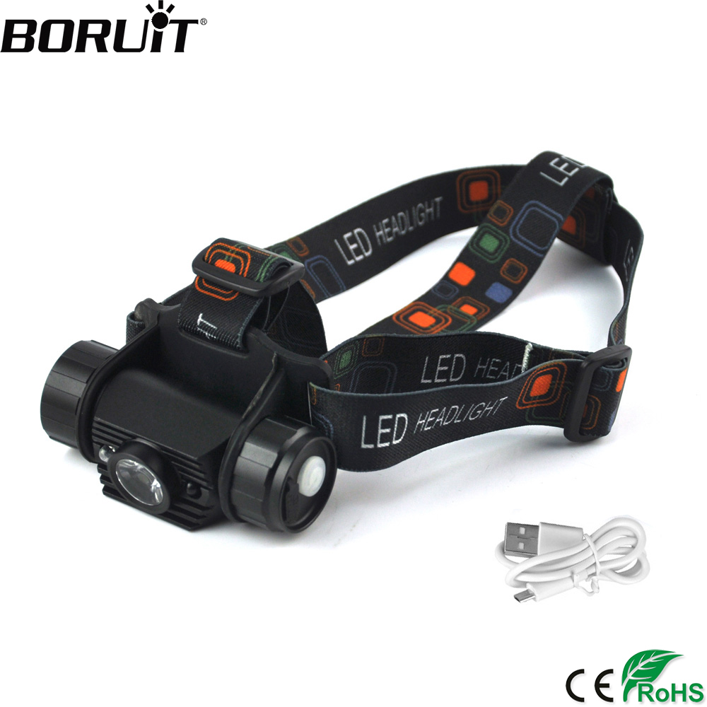 BORUIT XPE LED IR Sensor Mini Headlamp 18650 Battery Recharger Headlight Induction Flashlight Camping Hunting Head Torch
