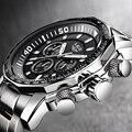 Мужские часы с большим циферблатом  военный хронограф  Топ бренд  роскошные модные мужские водонепроницаемые спортивные кварцевые наручны...