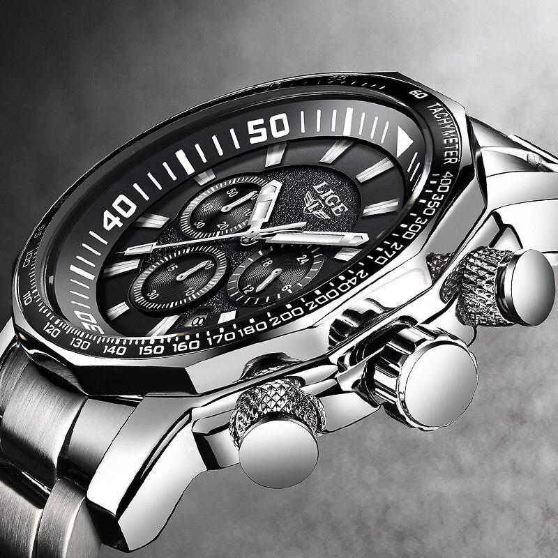 Mens Montre Grand Cadran Militaire LIGE Chronographe Top Marque De Luxe Mode Hommes Étanche Sport Quartz Montre-Bracelet Relogio Masculin