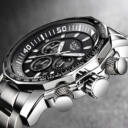 Mens Watch Grande Quadrante Militare LIGE Cronografo Top Brand di Lusso Degli Uomini di Modo Impermeabile del Quarzo di Sport Orologio Da Polso Relogio Masculin