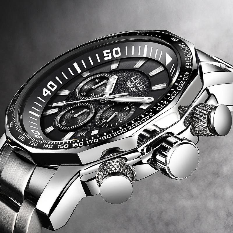 Reloj de pulsera de cuarzo deportivo resistente al agua con cronógrafo LIGE militar de marca de lujo para hombre