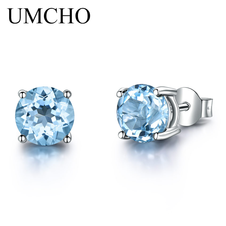 UMCHO Genuine 925 Sterling Silver Stud Earrings for Women Sky Blue Topaz Earrings Fine Jewelry Blue Gemstone Wedding Gift New jewelrypalace halo 2 6ct swiss blue topaz stud earrings 925 sterling silver fine jewelry new earrings for women party gift