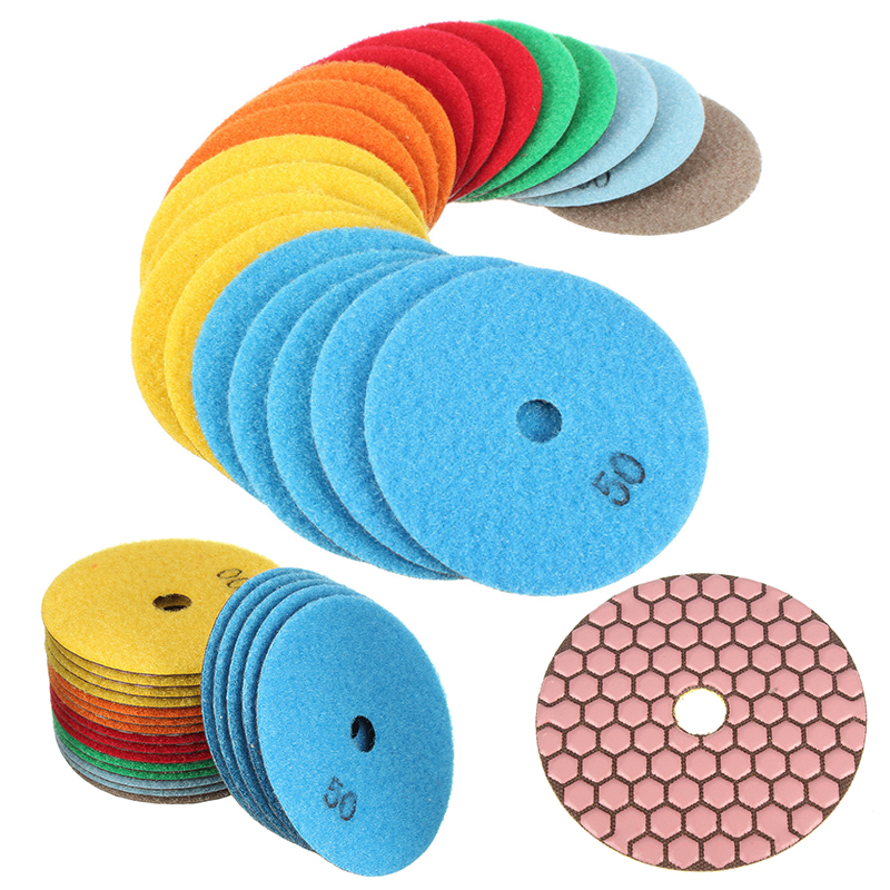 купить 20pcs High Quality Dry Diamond Polishing Pads Set For Granite Quartz Marble Concrete 4/100mm онлайн