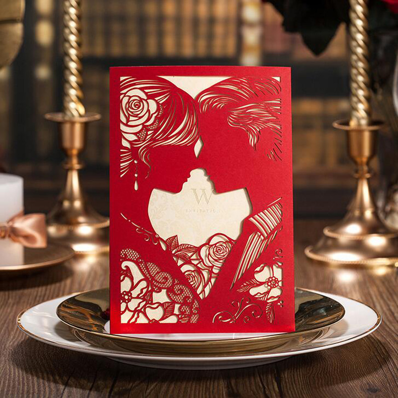 50Pcs Red Laser Cut Bride And Groom Marriage Wedding Invitations Cards 3D Card Greeting Card Postcard Event & Party Supplies 1pcs sample laser cut bride and groom marriage wedding invitations cards greeting cards 3d cards postcard event party supplies
