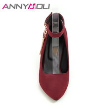ANNYMOLI Women Shoes High Heel Ankle Strap Pumps Thin Heels Buckle Tassel Women Party Shoes Big Size 33-46 2018 Ladies Shoes