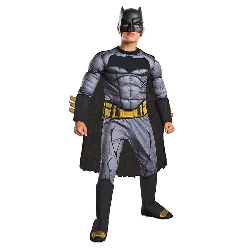 Рассвет Справедливости обувь для мальчиков Прохладный Делюкс мышцы Бэтмен ребенок DC фильм косплэй супергерой костюм на Хэллоуин