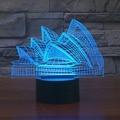 Color Changing  Night Light Indoor Sydney Opera House  3D  night light australia led bulb USB Novelty Light  For gifts