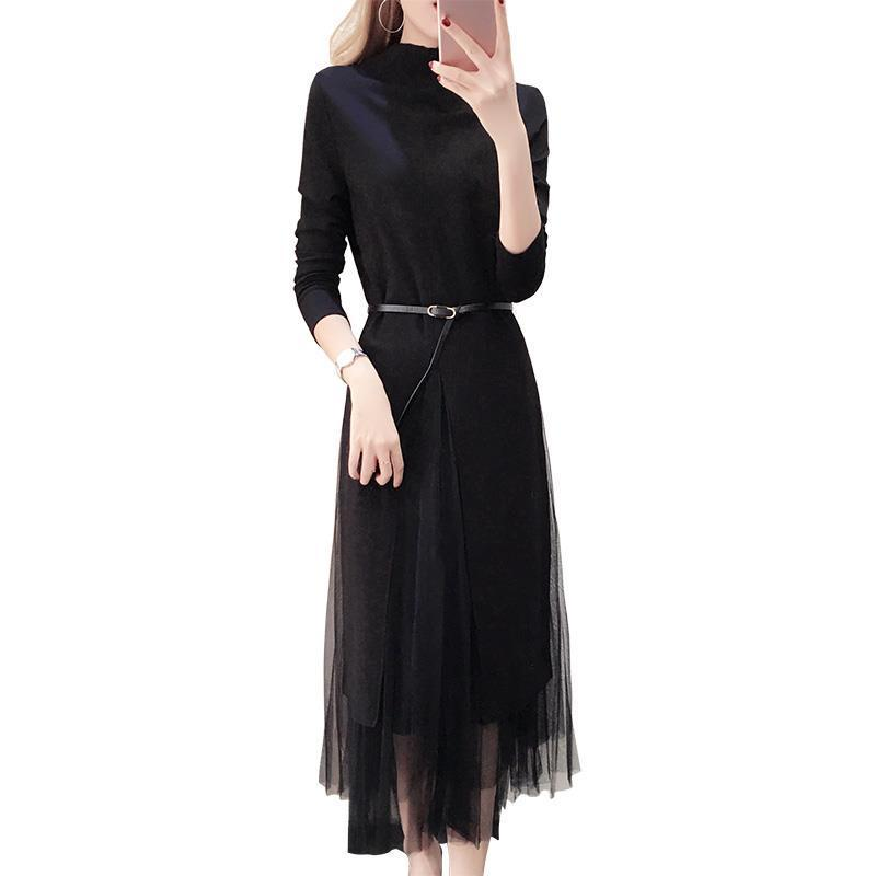 New women's Korean fashion two-piece bottoming suit autumn and winter knitted dress korean fashion autumn knitted dress suit women knee length casual sleeveless tank dress cardigan lady two piece dress sets