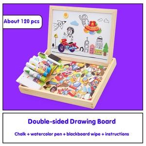 Image 3 - Multifunzionale di Legno Magnetico Giocattoli Per Bambini 3D Giocattoli di Puzzle Per Bambini di Educazione Animale di Legno della Lavagna Bambini Giochi Di Disegno