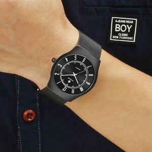 Image 5 - WWOOR トップブランドの高級メンズ超薄型防水スポーツ腕時計メンズクォーツ腕時計男性スリム黒時計レロジオ masculino