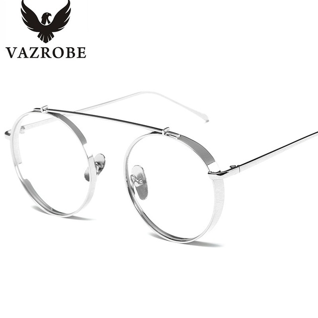 vazrobe clear round glasses men women gold silver metal circel