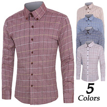 купить ZOGAA men shirt long sleeve Casual cotton plaid shirt 4 colors mens dress shirt men clothing 2018 streetwear men shirt plus size дешево