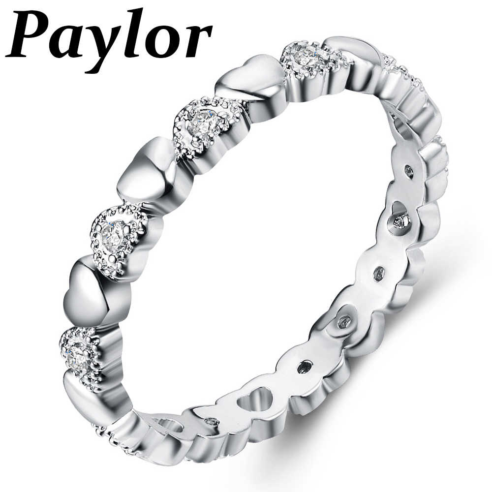 Paylor 2019 New Fashion Silver Color Stackable Ring Heart White CZ Brand Finger Rings for Women Wedding Anniversary Jewelry