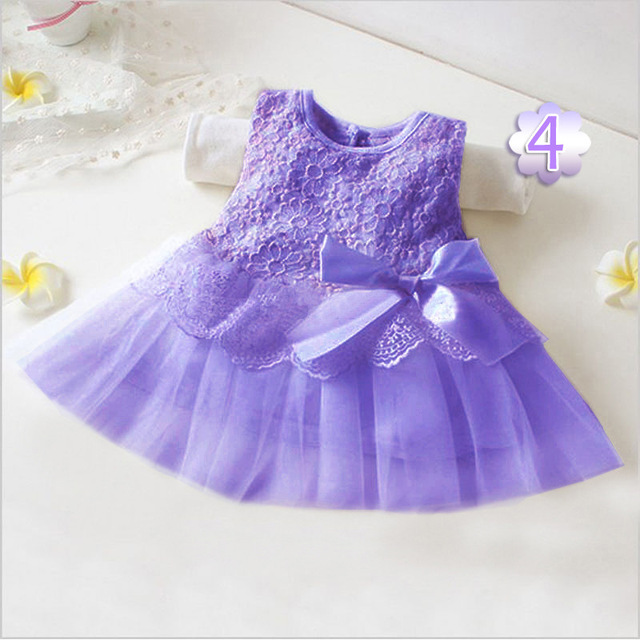 Sweet Flower round collar  Sleeveless Pure Color Infant Baby Girls Summer Dress Toddler Girls Dresses Clothing tutu Kids Clothes