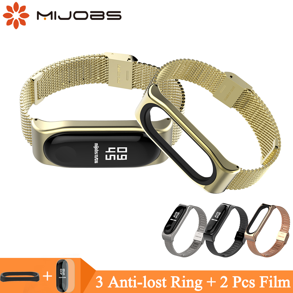 Mijobs Mi Band 3 Strap Milanese Bracelet for Xiaomi Mi Band 3 Wrist Strap Mi Band3 Smart Band Miband 3 Wristband Stainless Metal milanese loop bracelet for xiaomi mi band 2 strap stainless steel metal wrist band for xiaomi mi band2 replacement wristband
