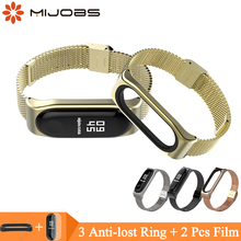 Mijobs Mi Band 4 Strap Milanese Bracelet for Xiaomi Mi Band 4 3 Smart Watch Miband 3 Wristband Stainless Steel Metal Wrist Strap newest watchband strap milanese magnetic loop stainless steel wrist strap watch bands strap bracelet for xiaomi mi band 3