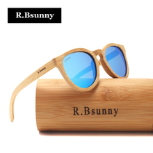 R.Bsunny New fashion 2017 Bamboo Sunglasses men women polarized Retro Round Wood sun glasses Vintage wooden Frame Handmade RZ607