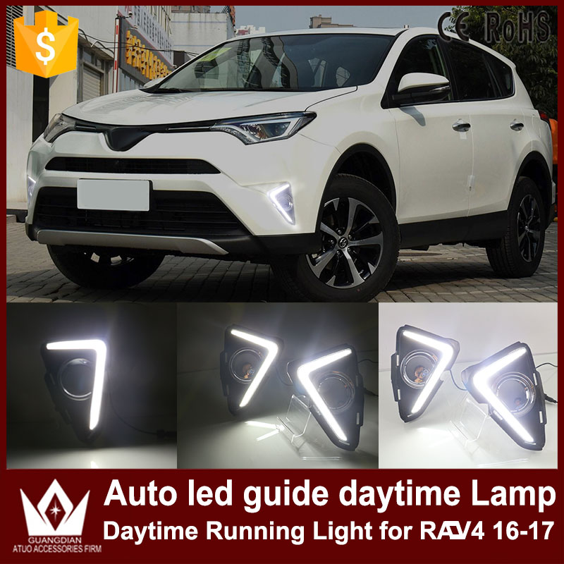 GuangDian 1 Set Car DRL LED Daytime Running Lights Auto LED Guide Fog Lamp Only White Headlight For Toyota RAV4 RAV 4 2016 2017 high quality h3 led 20w led projector high power white car auto drl daytime running lights headlight fog lamp bulb dc12v