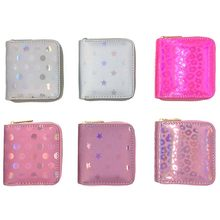 KANDRA Fashion Short Sequined Star and Dot Women Short Wallet Holographic Floral Small Wallets Card Holder Zipper Coin Purses(China)