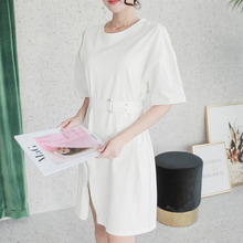 Fashion lady cotton t-shirt dress female split zipper short sleeve dresses sashes slim waist casual mini dress woman clothing