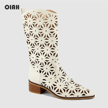 OIAH Women Mid-Calf Boots New Style Hollow Out Flowers White Shoes Ladies Fashion Casual Zipper PU Shoes Woman botas mujer 2019 цены онлайн